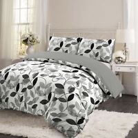 Retro Leaf 100% Brushed Cotton Flannelette Quilt Duvet Cover Set Bed Linen Grey