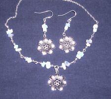 Flor De Plata Tibetana & Piedra Lunar enlace collar conjunto