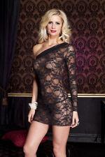 XL Noir Lacets Asymétrique Chemise Mini Robe Créateur Sexy Lingerie P56159 Q