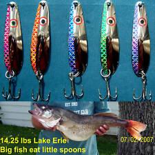 """(5)   2 3/8""""   trolling spoons (5) color Fisheye Scale/Open Scale Walleye Candy"""