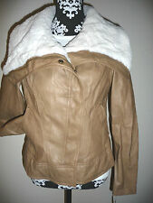 Guess Faux Leather Jacket Womens Shearling Coat Biker Tan Cream L M $210