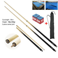 58-inch 2-Piece Sport Wood Billiard Pool Cue Stick Set 19oz,550g+ Billiard chalk