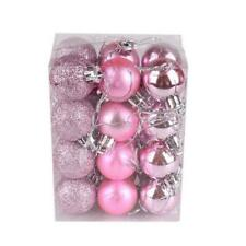 48 (2x24) Pink Mix Shatterproof Baubles 30mm Christmas Tree Decorations
