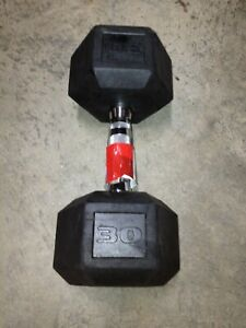 30 LB Dumbbell Rubber Coated Hex NEW (30 LBS TOTAL) FREE SHIPPING! SINGLES 30LB