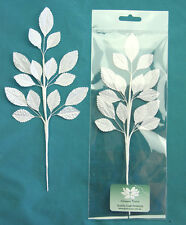 SILK 15 Leaf Spray WHITE 17x28mm with Wire Stems 235mm Long Green Tara