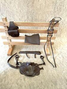 Marx Johnny West Saddle Cavalry Tack  Set Comanche Horse  brown Original Marx