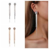 Women Long Tassel Crystal Rhinestone Ear Stud Drop Dangle Earrings Jewelry Gift