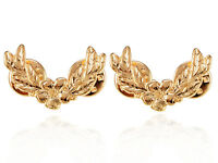 Lady Gold Metal Tone Vintage Flower with Leaves Twin Fashion Brooch Pin Jewelry