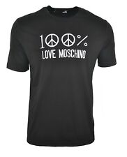 BNWT LOVE MOSCHINO 100% EMBROIDERED PEACE LOGO T-SHIRT BLACK & WHITE RARE