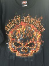"Harley-Davidson Men's  Black ""Flame"" willie G skull fire USA Large shirt"