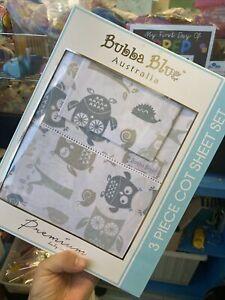Bubba Blue 3 Piece Cot Sheet Set Clearance