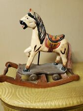 Antique Hand-Carved Wooden Rocking Horse Toy Wheels Painted Vintage Pony