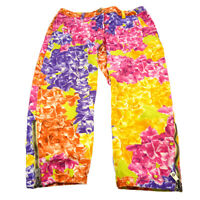 VERSACE Floral Logos Ankle Pants Multi-color Cotton # 38/24 Authentic 00836
