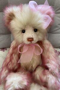 "Charlie Bears Birthday Bear from 2018 14"" pink plush bear rare"