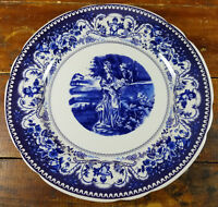 Colonial Courtesan Romance Lovers Rest in Garden Blue Transferware Charger Plate