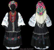 OLD UKRAINIAN FOLK COSTUME w/ embroidered blouse apron dress vest necklace shawl