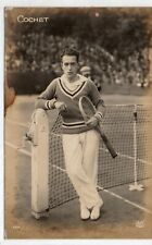 1924 Olympic RPPC COCHET Tennis Silver French Doubles Postcard Paris AN RARE