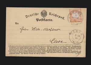 Karte DR EF Mi.3 mit Hufeisenstempel Wesel von 1872 gelaufen