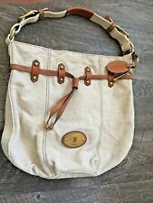 Large Fossil Lock & Key Beige Fabric Tote Bag. Brown Leather Details on Purse.