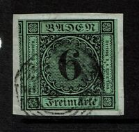 Baden SC# 3, Used, cut on piece (Noted as Mi# 3a), expert mark on back - S4140