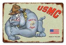 USMC Bulldog Metal Sign - Hand Made in the USA with American Steel