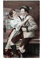 German Hug In Bar Fancy Romantic Couple Victorian Lovers Postcard Hand Colored
