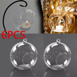 6pcs Clear Hanging Glass Bauble Ball Tealight Candle Holder Wedding Garden Decor