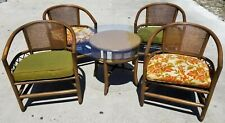 5 Pc Vintage Bamboo Bentwood Cane Back Cocktail Dining Set by Empire Rattan Mcm