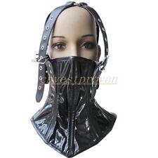 Womens PVC Leather Hood Mask Neck collar Restraints head Harness Corset Costume
