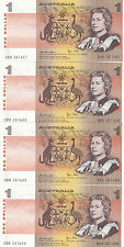 1979 One Dollar Knight/Stone Four Consecutives UNC notes, DBH 387487/90