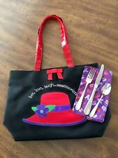 """Red Hat Ladies Tote Bag And Lunch Napkin And Placesetting """"Be Ready For Lunch"""""""