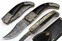 HAND MADE DAMASCUS BLADE FOLDING HUNTING KNIFE WITH REAL LEATHER SHEATH WT 5067H