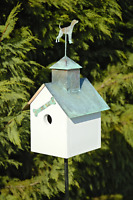 """BIRDHOUSES - """"IN THE DOG HOUSE"""" WOODEN BIRDHOUSE WITH DOG FINIAL - OUTDOOR DECOR"""