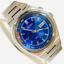 Vintage 1975 Seiko Bell-Matic Automatic Mens Stainless Watch Blue Dial 4006-6049
