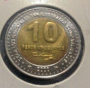 URAGUAY 2000 BU 10 PESO BI-METALLIC COIN JOSE ARTIGOS
