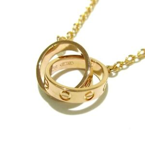 Auth Cartier Baby Love 18K Rose Gold HO6338 Necklace