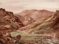 SAINT-NECTAIRE AUVERGNE FRANCE Watercolour Painting 1854 - 19TH CENTURY