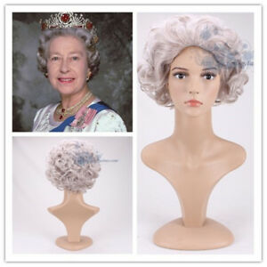 UK Queen Elizabeth Cosplay Wig Short Grandmother Fancy Hair Accessory Gray Curly