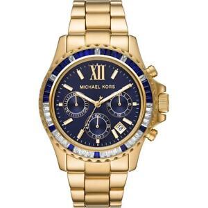 Orologio MICHAEL KORS EVEREST MK6971 Chrono Acciaio Gold Dorato Blu