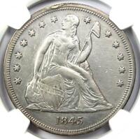 1845 Seated Liberty Silver Dollar $1 Coin - Certified NGC AU Detail - Rare Date!