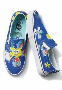 Mens Vans Classic Slip On Spongebob Squarepants Alohabob Shoes Blue White Yellow