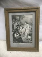 Vintage Lithograph Print Jesus with Children Plockhorst 1825 Reprint 1920s # 807