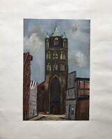 Gemälde Impressionist Stralsund St.-Jakobi-Kirche Backsteingotik Ostsee 24,5x20