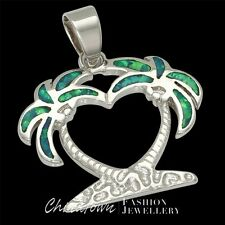 Double Palm Trees Kiwi Green Fire Opal Inlay Silver Jewelry Necklace Pendant