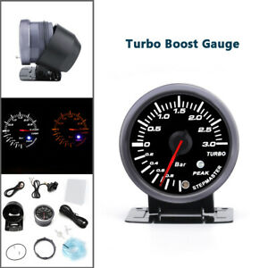 2.5'' 60mm Car Turbo Boost Gauge Kit Pointer Meter Step Motor White LED Bar ABS