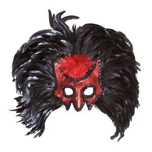 XL FEDER KOPFSCHMUCK rot Maske Karneval Venedig Teufel Drachen Vogel Kostüm 6474