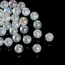 100 MERMAID CLEAR AB CRACKLE ACRYLIC SPACER BEADS ~8mm~ NECKLACE~BRACELET (85J)