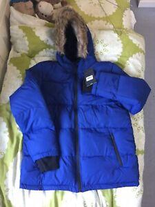 Men's Blue Fleece Hooded Fur Jacket Warm Cosy Thermal Winter Zip Line Size L