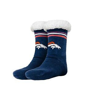 Denver Broncos Women's Stripe Logo Tall Footy Slippers - Size 6-10  Non Skid