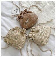 Women Lace Bucket Bag Small Messenger Beach Bag Crochet Drawstring Crossbody Bag